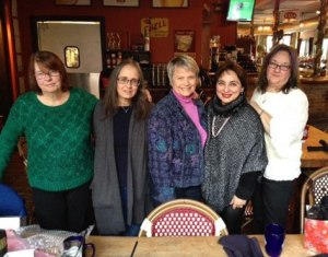 The Writer's Lunch writers. (Elaine, Amy, Judy, Shauna and Annie)