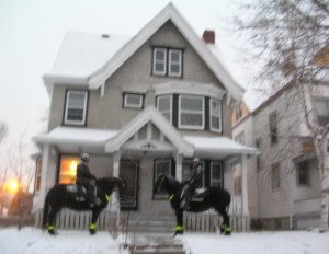 My former house, with two police horses.