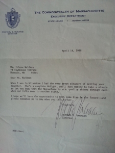 a letter from Massachusetts Governor Michael Dukakis