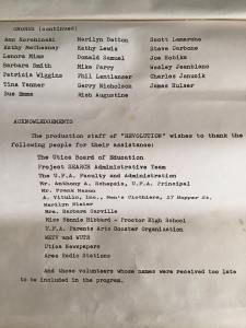 The rest of the choristers' names, and the acknowledgements. We had no idea we were doing anything remarkable. But when you look at this, it makes you think.....