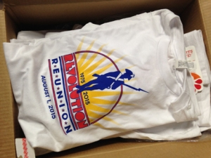 The T-shirts Jessica designed, riffing off of the one Michael designed (gulp) 40 years ago.